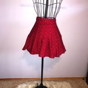 Black and red chevron reversible skater skirt